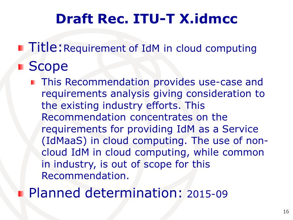 Title:Requirement of IdM in cloud computing Scope