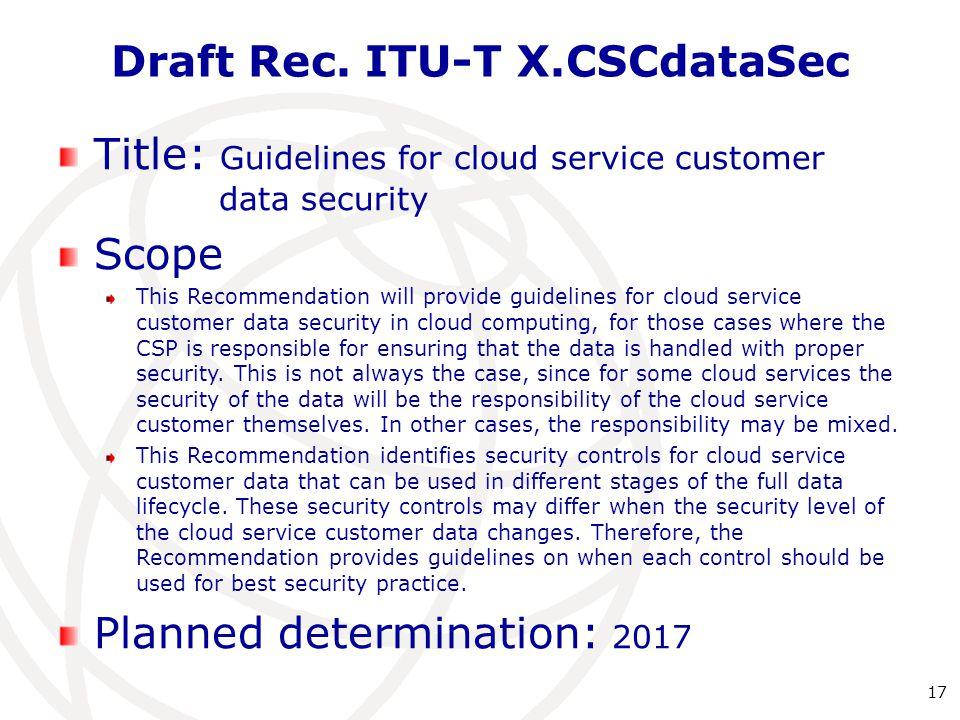 Draft Rec. ITU-T X.CSCdataSec