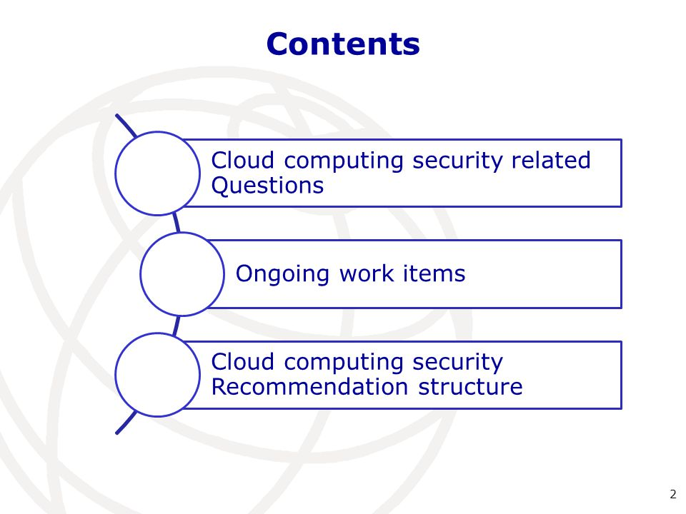 Contents Cloud computing security related Questions Ongoing work items