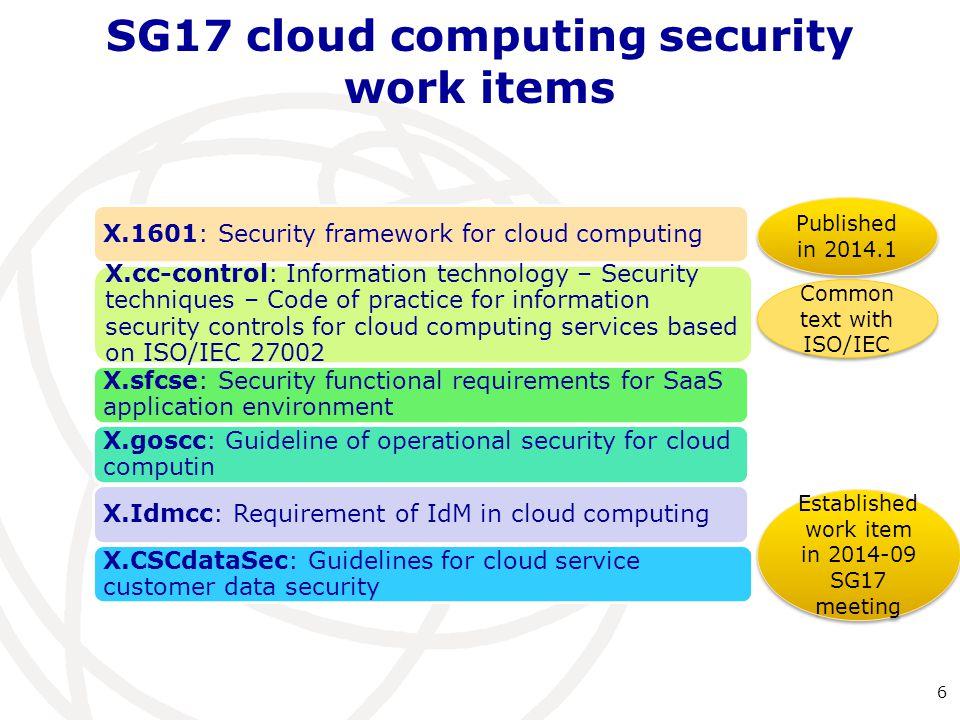 SG17 cloud computing security work items
