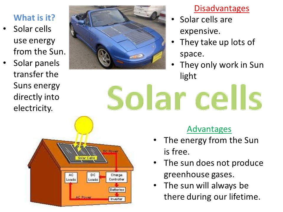 Disadvantages Solar cells are expensive. They take up lots of space. They only work in Sun light.