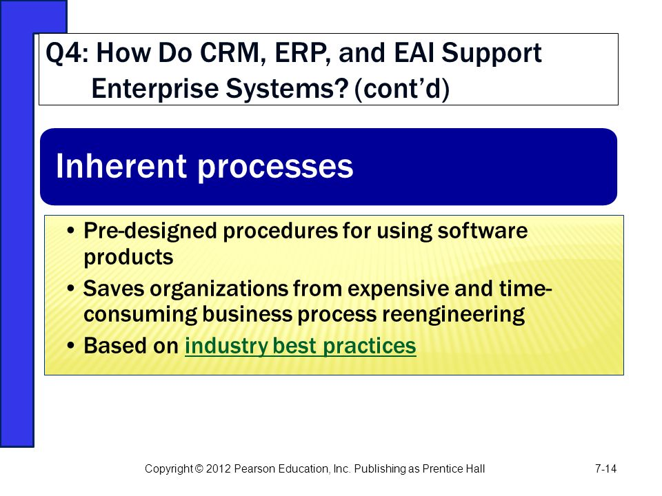 Q4: How Do CRM, ERP, and EAI Support Enterprise Systems (cont'd)