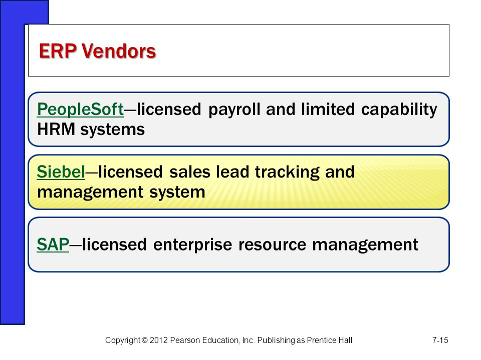 ERP Vendors PeopleSoft—licensed payroll and limited capability HRM systems. Siebel—licensed sales lead tracking and management system.