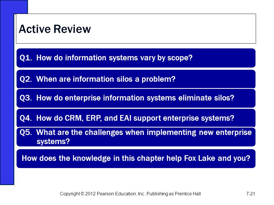 Active Review Q1. How do information systems vary by scope