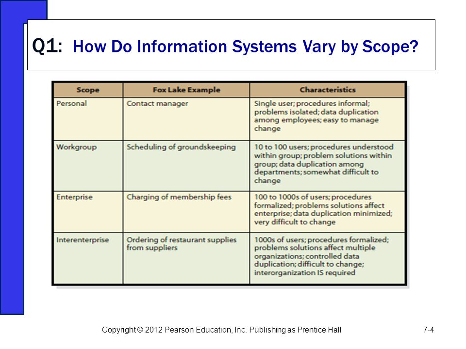 Q1: How Do Information Systems Vary by Scope