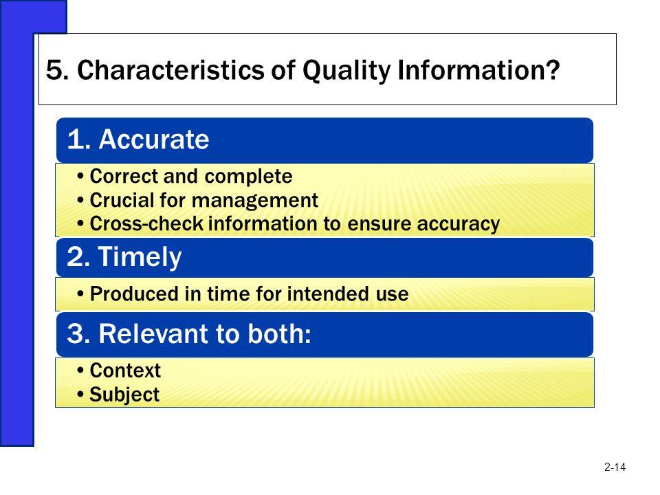 5. Characteristics of Quality Information