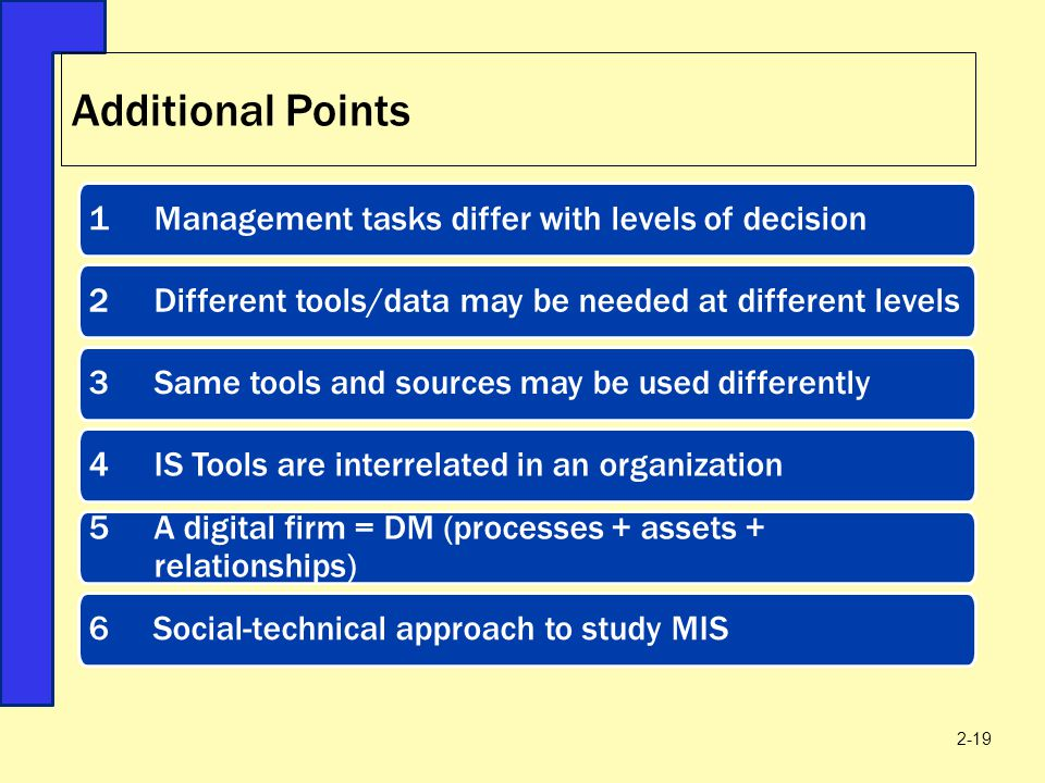 Additional Points 1 Management tasks differ with levels of decision