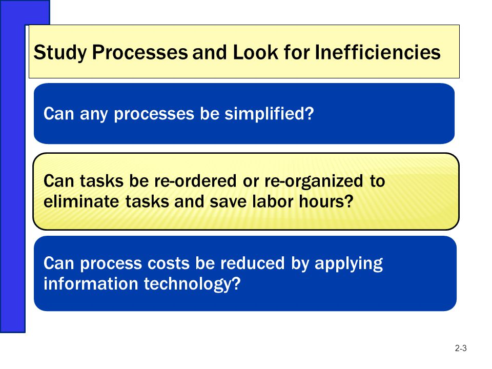 Study Processes and Look for Inefficiencies