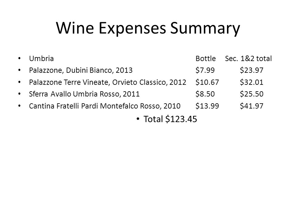 Wine Expenses Summary Total $123.45 Umbria Bottle Sec. 1&2 total