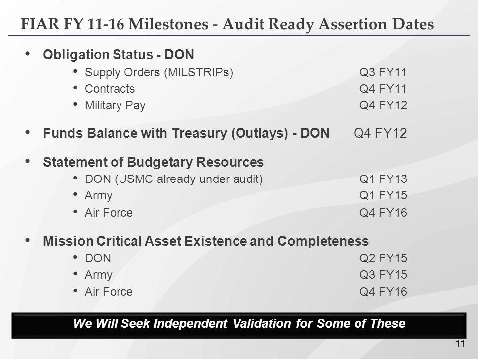 FIAR FY 11-16 Milestones - Audit Ready Assertion Dates