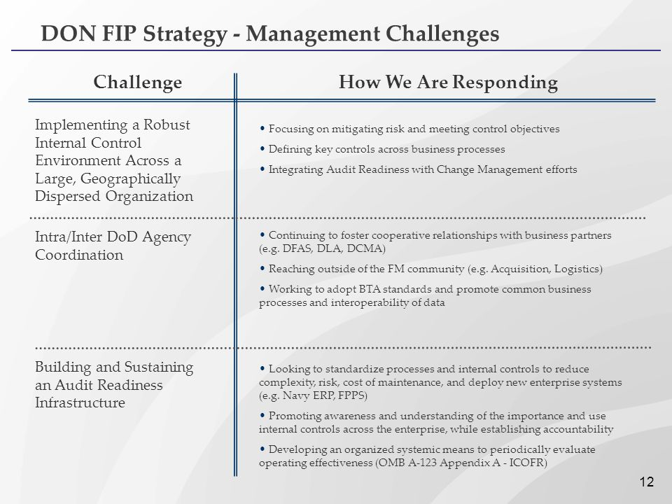 DON FIP Strategy - Management Challenges