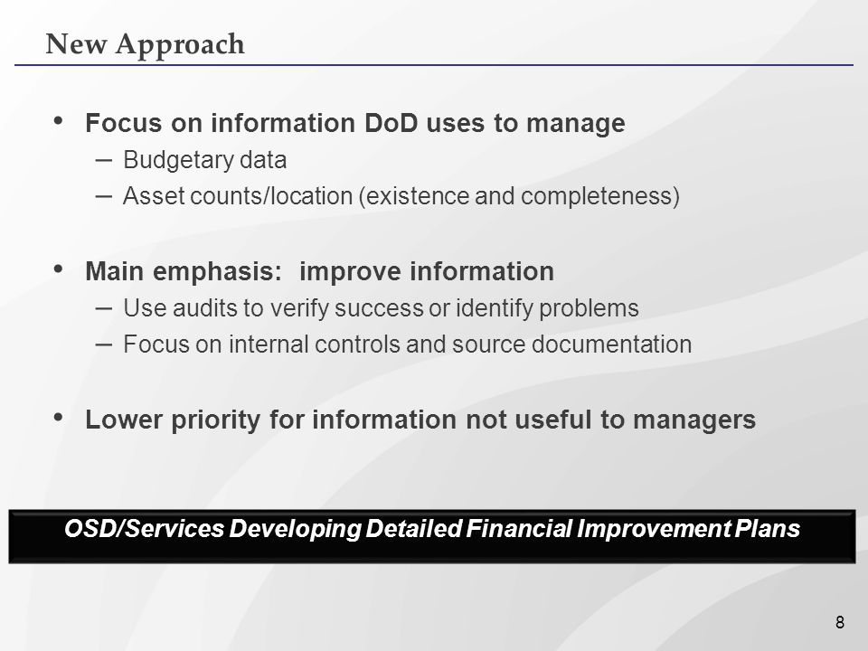OSD/Services Developing Detailed Financial Improvement Plans