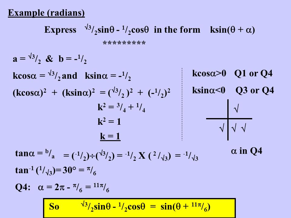 Example (radians) Express 3/2sin - 1/2cos in the form ksin( + ) ********* a = 3/2 & b = -1/2.