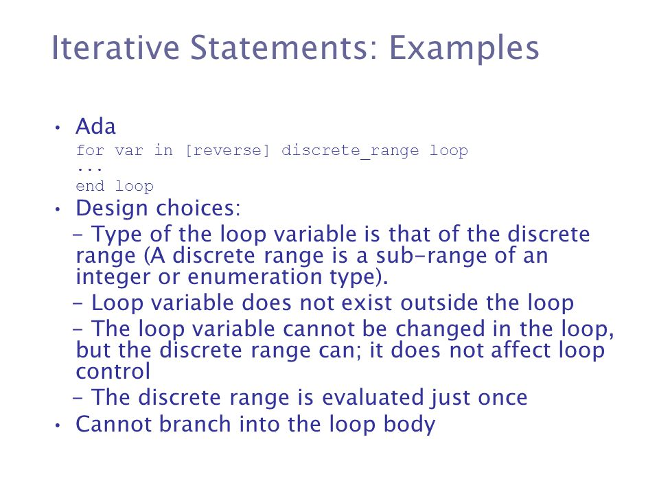 Iterative Statements: Examples
