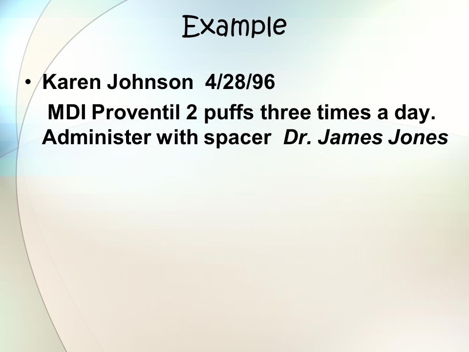 Example Karen Johnson 4/28/96