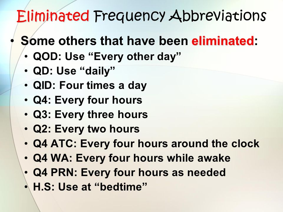 Eliminated Frequency Abbreviations