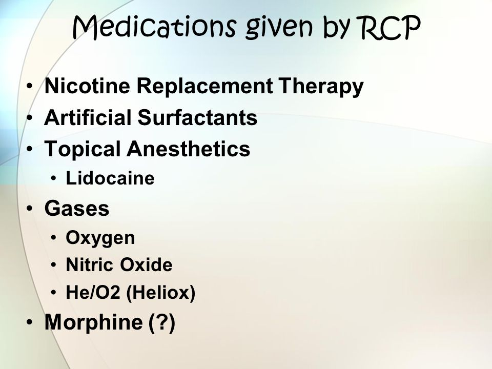 Medications given by RCP