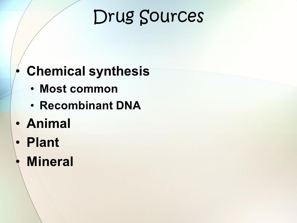 Drug Sources Chemical synthesis Animal Plant Mineral Most common