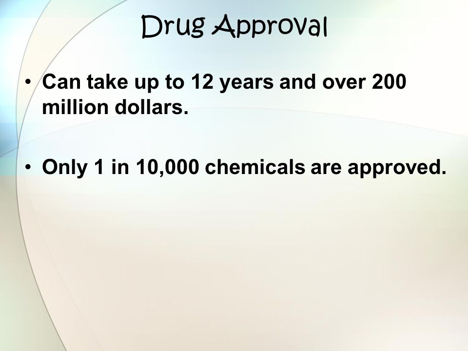 Drug Approval Can take up to 12 years and over 200 million dollars.