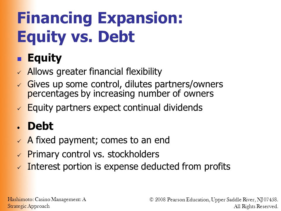 Financing Expansion: Equity vs. Debt