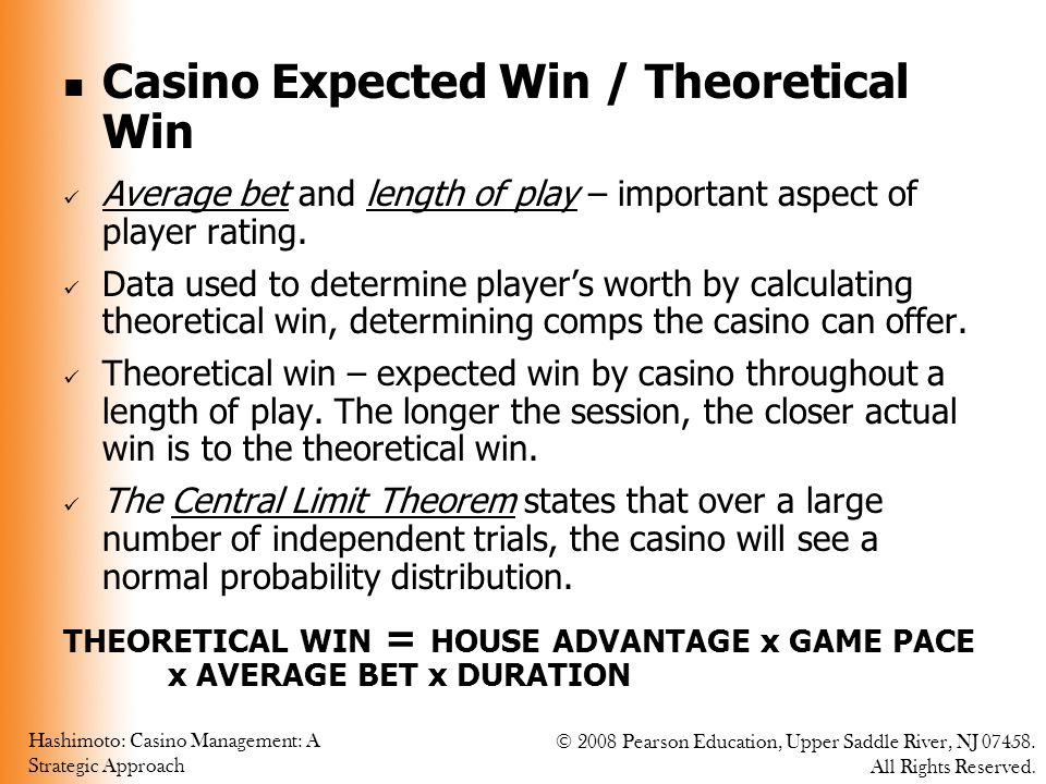Casino Expected Win / Theoretical Win