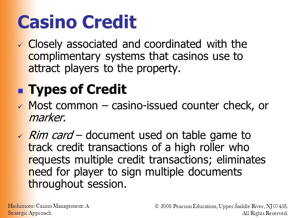 Casino Credit Types of Credit