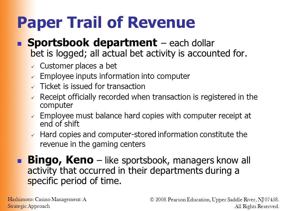 Paper Trail of Revenue Sportsbook department – each dollar
