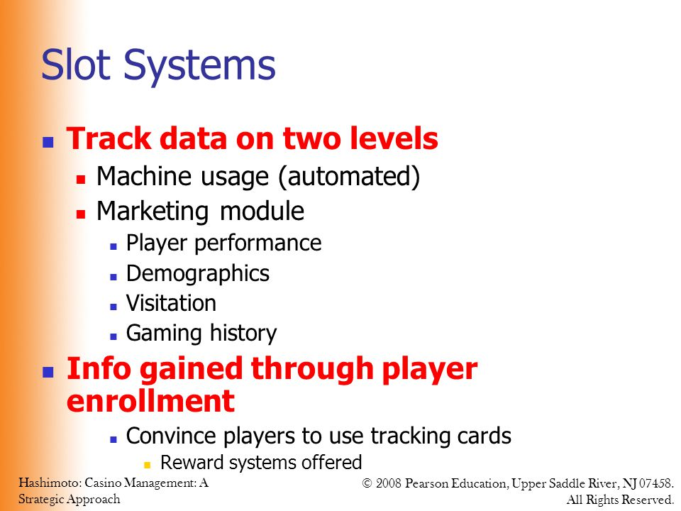 Slot Systems Track data on two levels