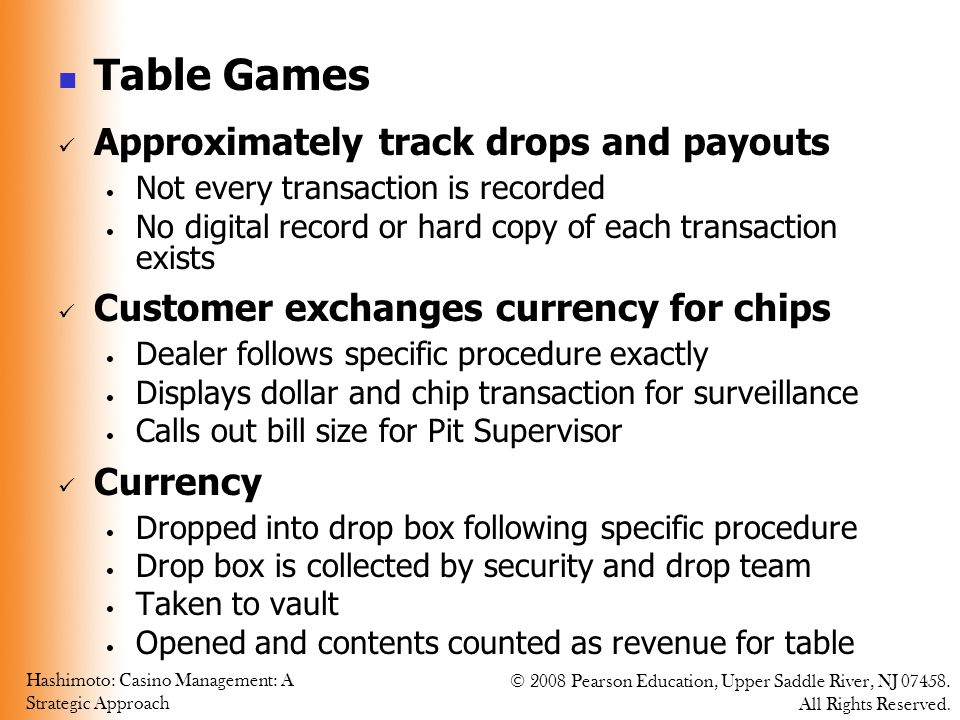 Table Games Approximately track drops and payouts