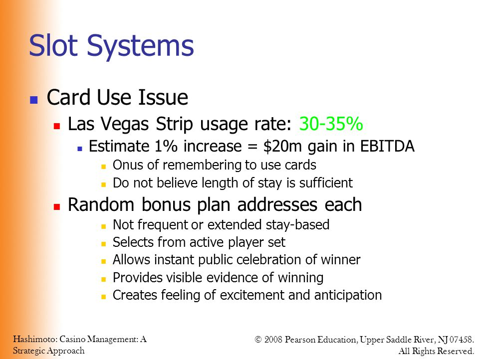 Slot Systems Card Use Issue Las Vegas Strip usage rate: 30-35%