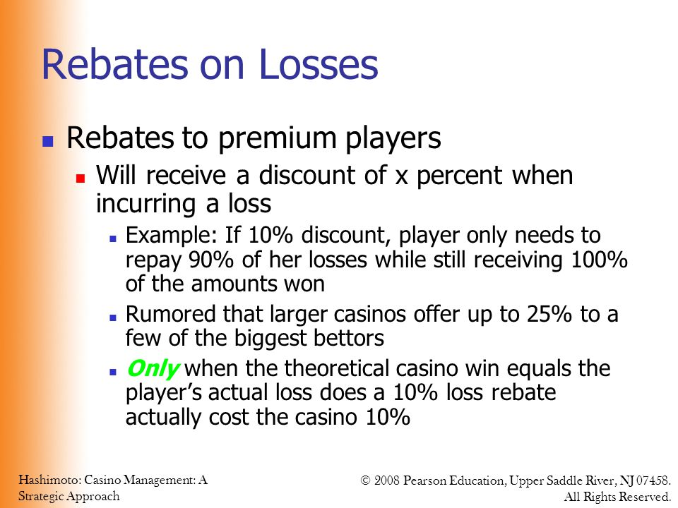 Rebates on Losses Rebates to premium players