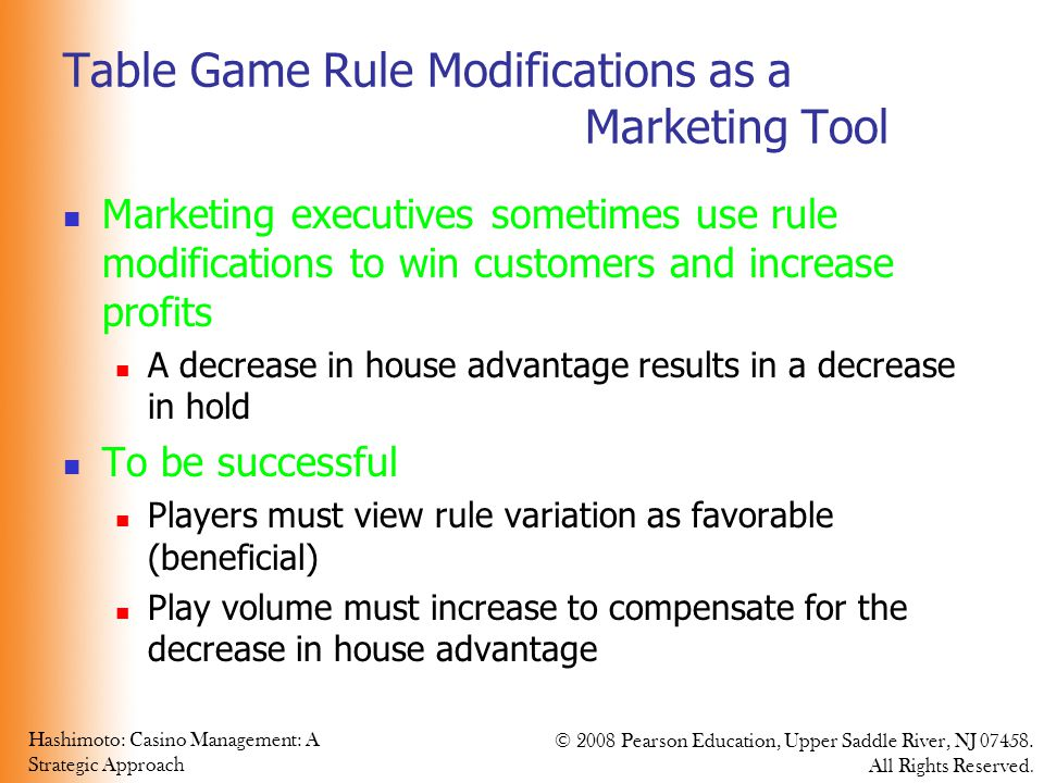 Table Game Rule Modifications as a Marketing Tool