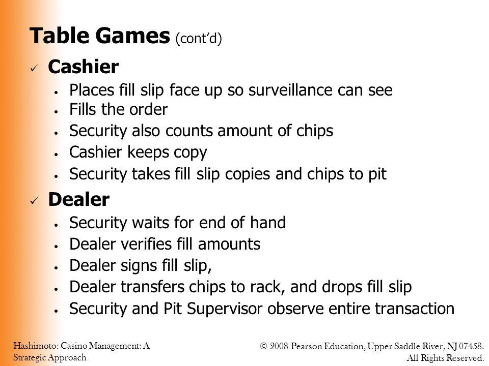 Table Games (cont'd) Cashier Dealer