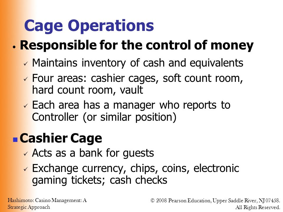 Cage Operations Responsible for the control of money Cashier Cage