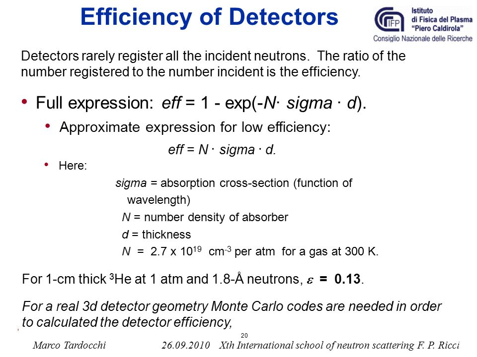 Efficiency of Detectors