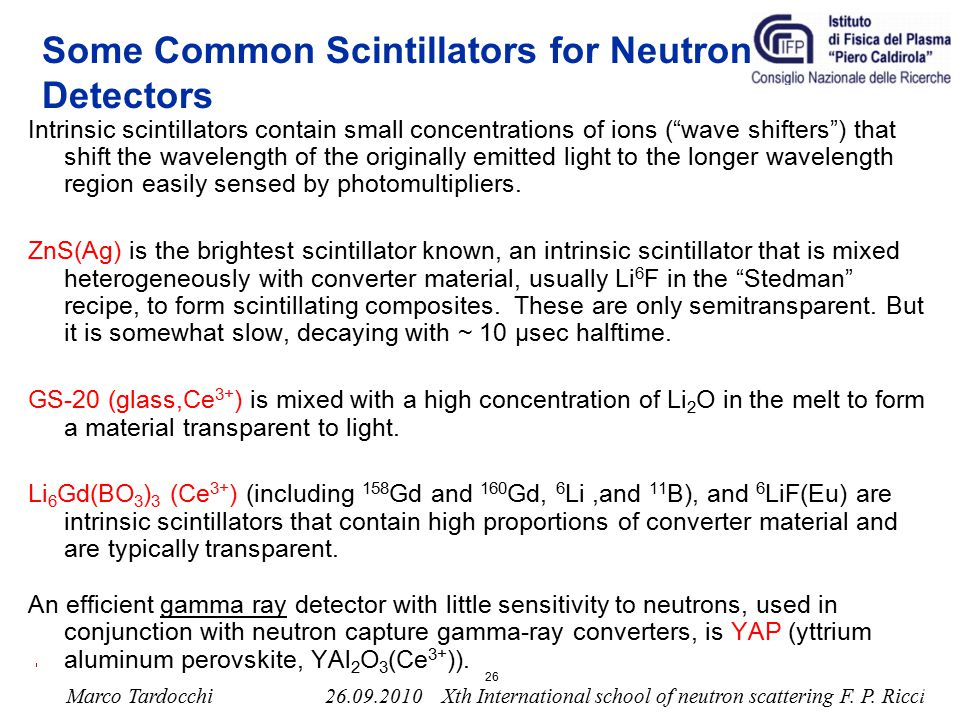 Some Common Scintillators for Neutron Detectors