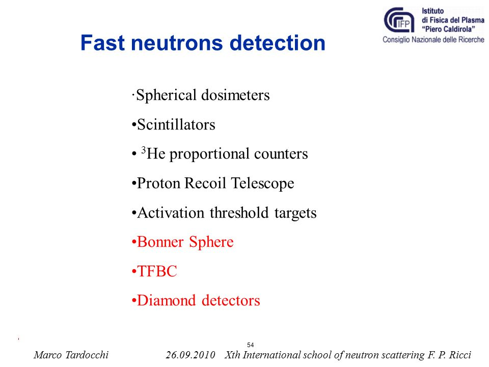 Fast neutrons detection