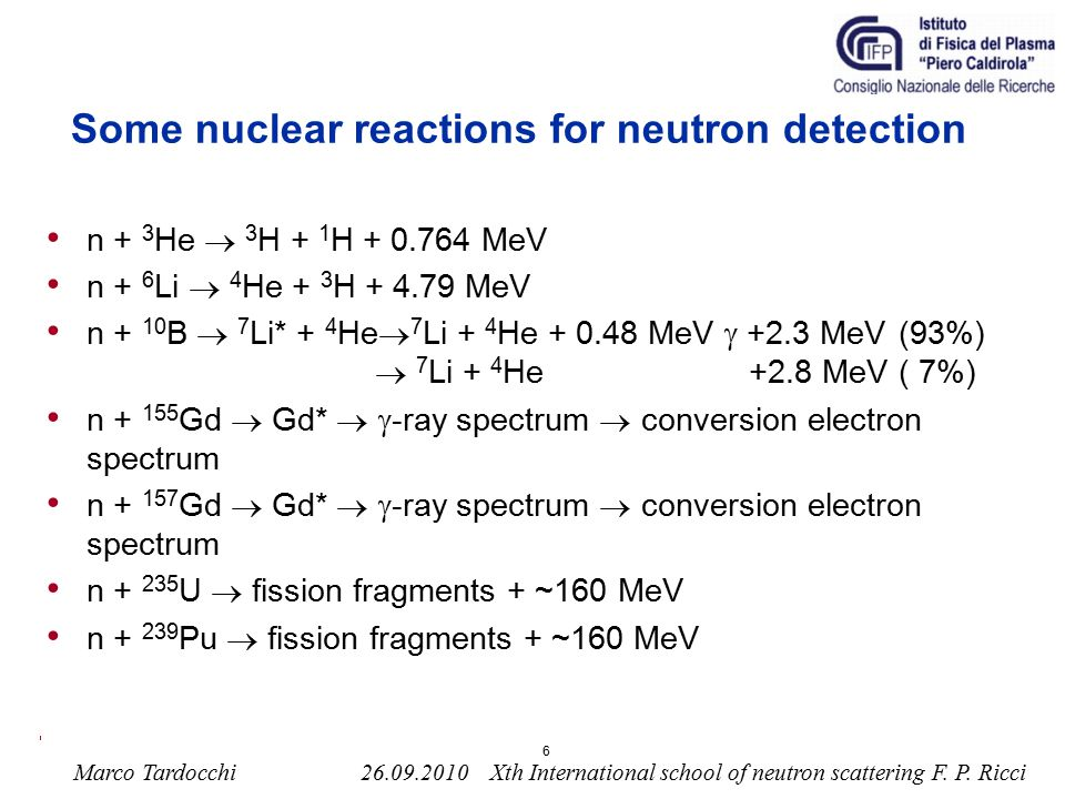 Some nuclear reactions for neutron detection