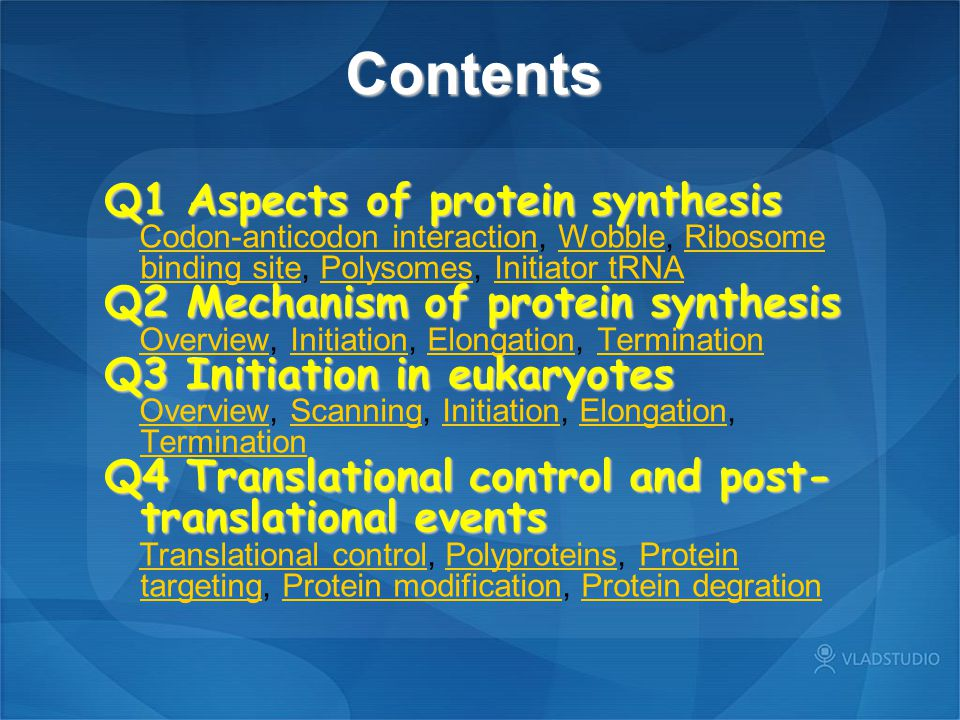 Contents Q1 Aspects of protein synthesis