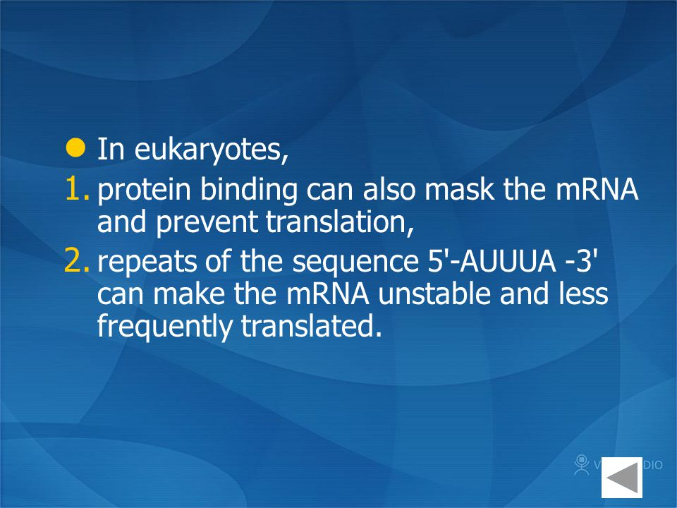 In eukaryotes, protein binding can also mask the mRNA and prevent translation,