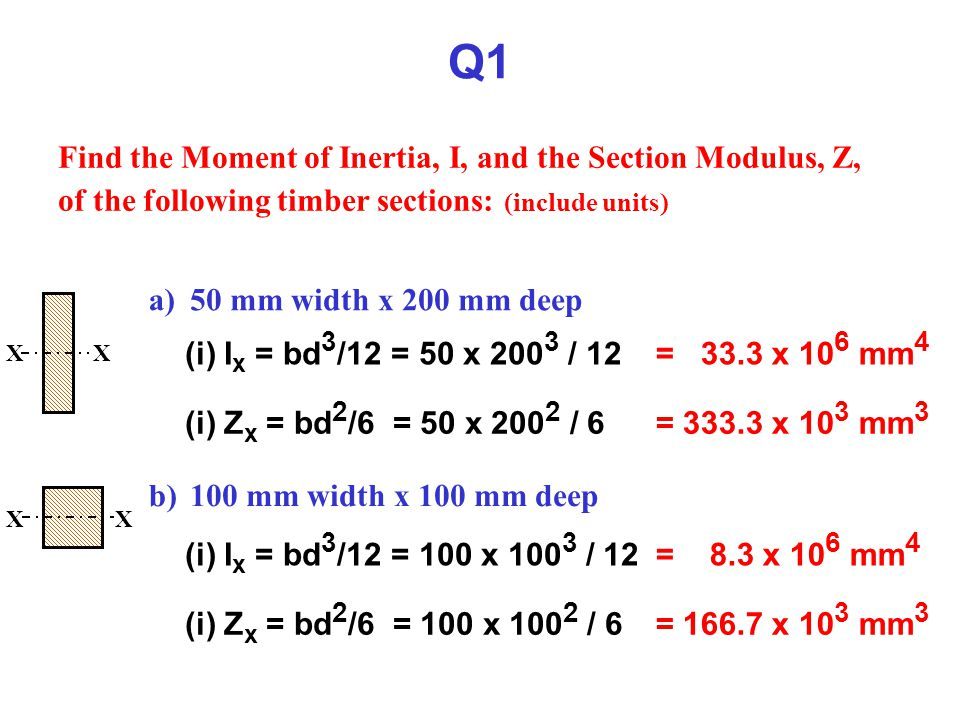 Q1 Find the Moment of Inertia, I, and the Section Modulus, Z, of the following timber sections: (include units)