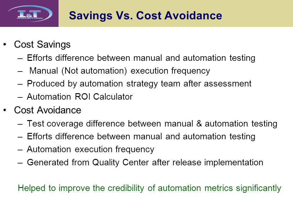 Savings Vs. Cost Avoidance