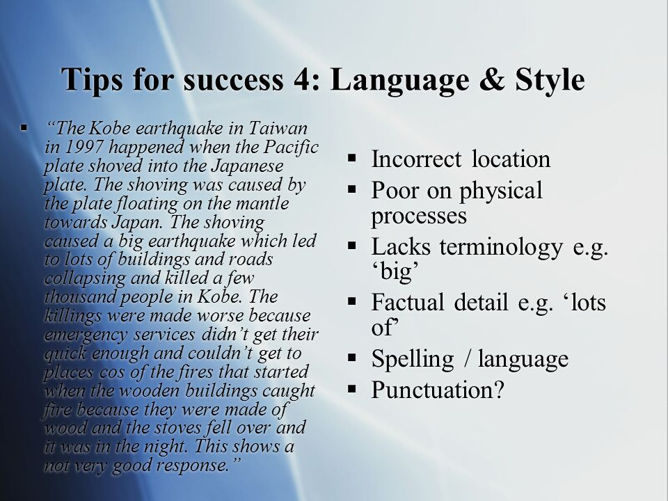 Tips for success 4: Language & Style