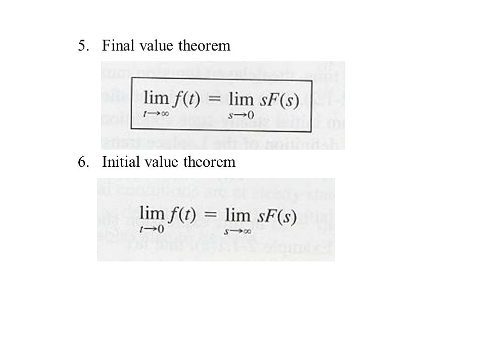 Final value theorem Initial value theorem