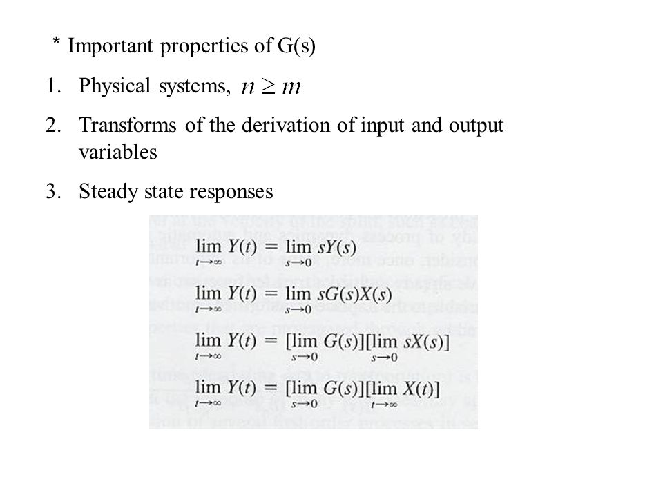 *Important properties of G(s)