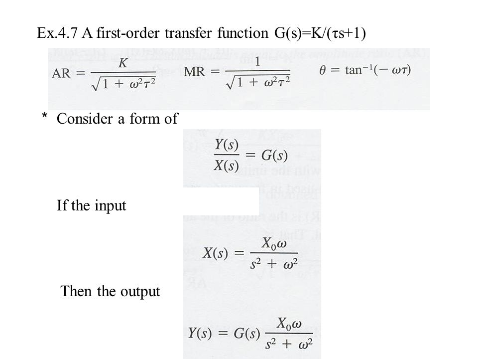 Ex.4.7 A first-order transfer function G(s)=K/(τs+1)