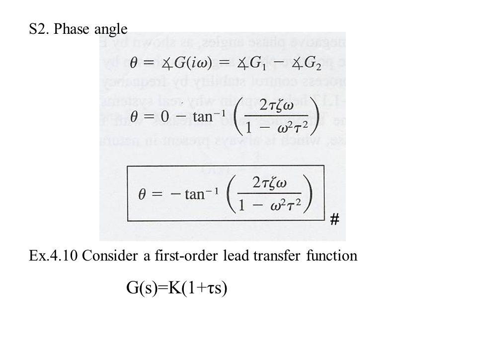 G(s)=K(1+τs) S2. Phase angle #