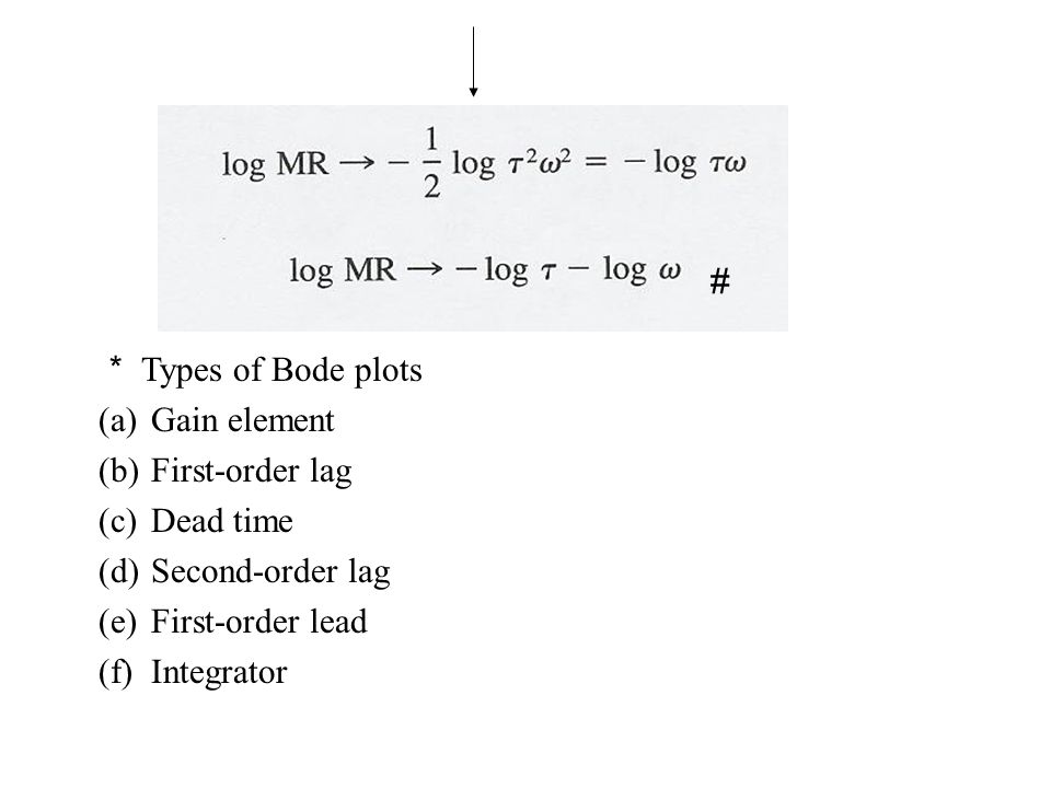 # * Types of Bode plots. Gain element. First-order lag. Dead time. Second-order lag. First-order lead.