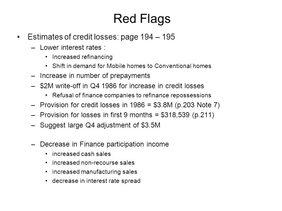 Red Flags Estimates of credit losses: page 194 – 195