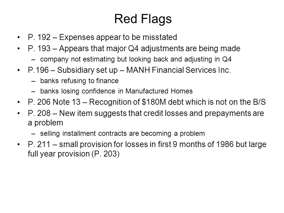 Red Flags P. 192 – Expenses appear to be misstated